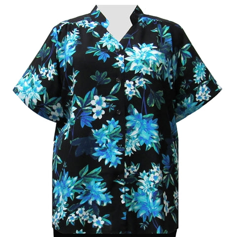 Aqua Botanic Mandarin Collar V-Neck Tunic Women's Plus Size Blouse