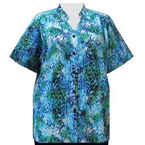 Aqua Leopard Mandarin Collar V-Neck Tunic Women's Plus Size Blouse