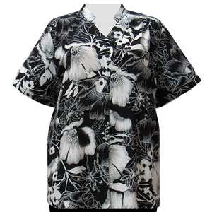 Black & White Blossoms Collar V-Neck Tunic Women's Plus Size Blouse