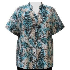 Chocolate Leopard Mandarin Collar V-Neck Tunic Women's Plus Size Blouse