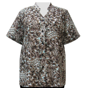 Cocoa Feathers Mandarin Collar V-Neck Tunic Women's Plus Size Blouse