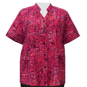 Geranium Tribal Designs Mandarin Collar V-Neck Tunic Women's Plus Size Blouse