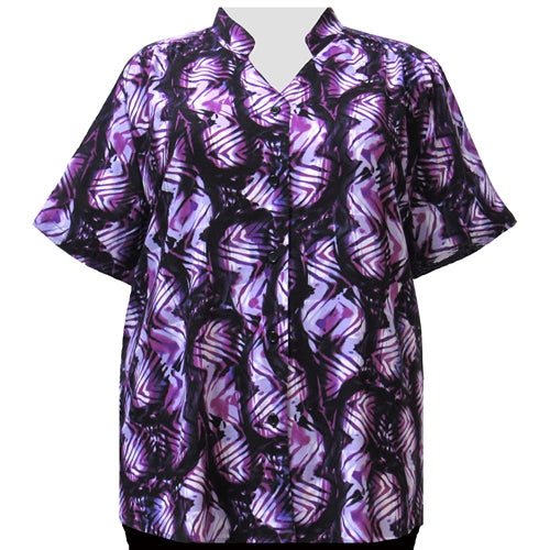 Lavender Geometric Tribal Mandarin Collar V-Neck Tunic Women's Plus Size Blouse