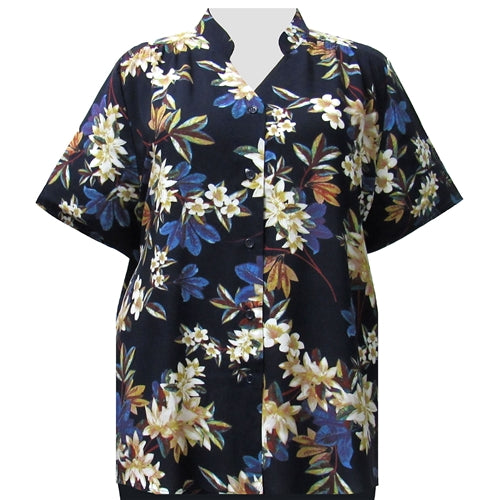 Navy Botanic Collar V-Neck Tunic Women's Plus Size Blouse