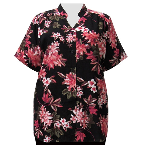 Pink Botanic Collar V-Neck Tunic Women's Plus Size Blouse