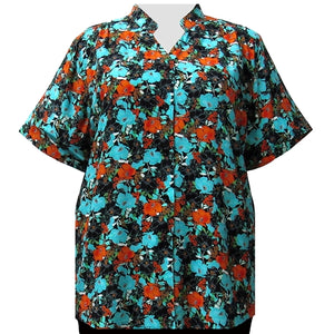 Turquoise Floral Garden Collar V-Neck Tunic Women's Plus Size Blouse