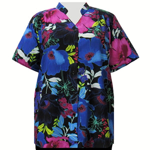 Vibrant Blossoms Mandarin Collar V-Neck Tunic Women's Plus Size Blouse