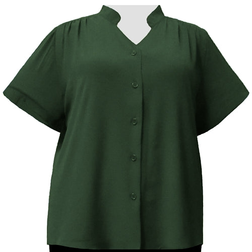 Forest Green Mandarin Collar V-Neck Tunic Women's Plus Size Blouse