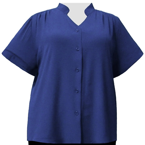 Sapphire Mandarin Collar V-Neck Tunic Women's Plus Size Blouse