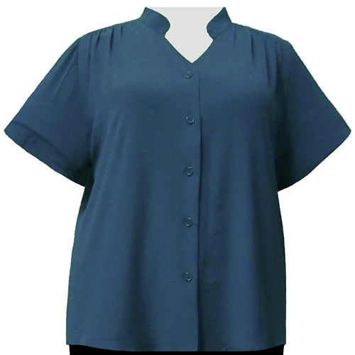 Teal Mandarin Collar V-Neck Tunic Women's Plus Size Blouse