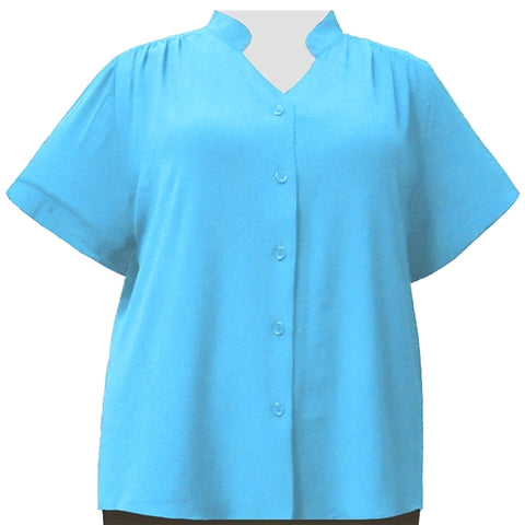 Turquoise Mandarin Collar V-Neck Tunic Women's Plus Size Blouse