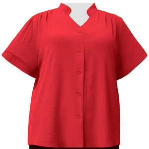 Candy Apple Red Mandarin Collar V-Neck Tunic Women's Plus Size Blouse