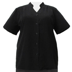 Black Mandarin Collar V-Neck Tunic Women's Plus Size Blouse