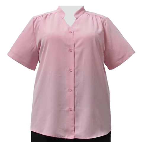 Light Pink Mandarin Collar V-Neck Tunic Women's Plus Size Blouse