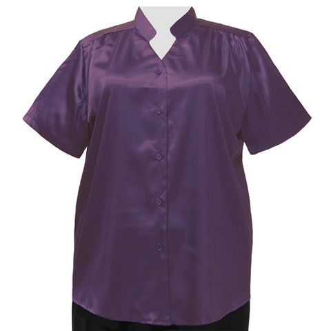 Aubergine Crepe Back Satin Mandarin Collar V-Neck Tunic Women's Plus Size Blouse