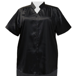 Black Crepe Back Satin Mandarin Collar V-Neck Tunic Women's Plus Size Blouse