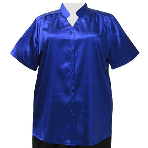 Cobalt Crepe Back Satin Mandarin Collar V-Neck Tunic Women's Plus Size Blouse