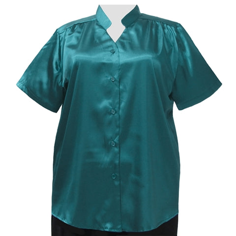 Teal Crepe Back Satin Mandarin Collar V-Neck Tunic Women's Plus Size Blouse