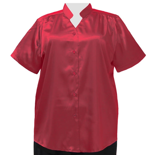 Red Crepe Back Satin Mandarin Collar V-Neck Tunic Women's Plus Size Blouse