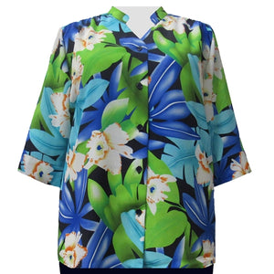 Blue & Green Hibiscus 3/4 Sleeve Mandarin Collar V-Neck Tunic Women's Plus Size Blouse
