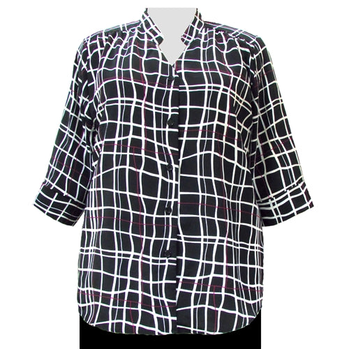 Black Windowpane 3/4 Sleeve Mandarin Collar V-Neck Tunic Women's Plus Size Blouse
