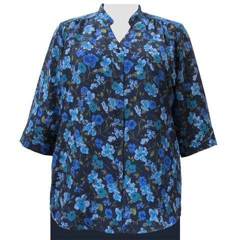 Blue Happy Days 3/4 Sleeve Mandarin Collar V-Neck Tunic Women's Plus Size Blouse