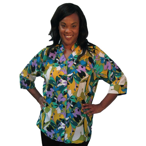 Emme 3/4 Sleeve Mandarin Collar V-Neck Tunic Women's Plus Size Blouse