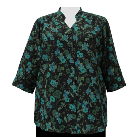 Green Happy Days 3/4 Sleeve Mandarin Collar V-Neck Tunic Women's Plus Size Blouse