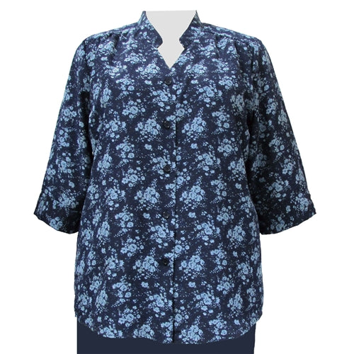 Navy Breck 3/4 Sleeve Mandarin Collar V-Neck Tunic Women's Plus Size Blouse
