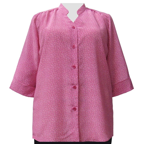 Pink Daisy 3/4 Sleeve Mandarin Collar V-Neck Tunic Women's Plus Size Blouse