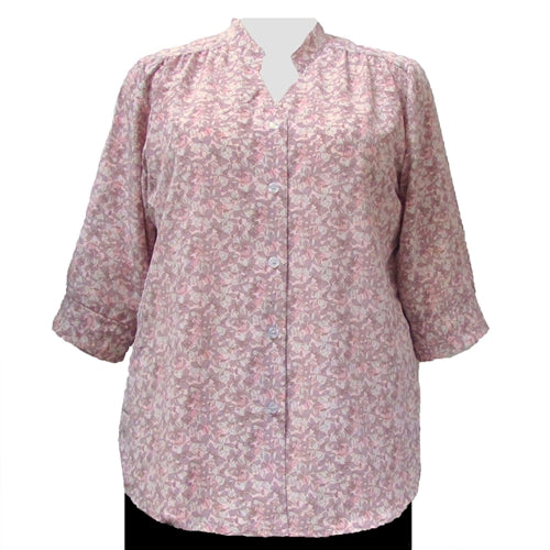 Pink Stella 3/4 Sleeve Mandarin Collar V-Neck Tunic Women's Plus Size Blouse