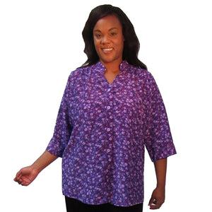 Purple Floral 3/4 Sleeve Mandarin Collar V-Neck Tunic Women's Plus Size Blouse