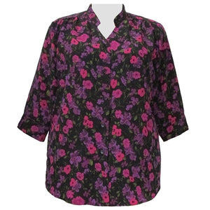 Purple Happy Days 3/4 Sleeve Mandarin Collar V-Neck Tunic Women's Plus Size Blouse