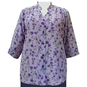 Purple Serena 3/4 Sleeve Mandarin Collar V-Neck Tunic Women's Plus Size Blouse