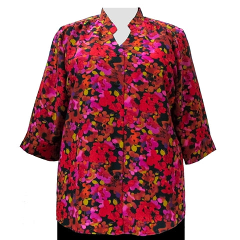 Red Marigolds 3/4 Sleeve Mandarin Collar V-Neck Tunic Women's Plus Size Blouse