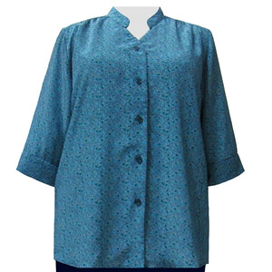 Teal Trellis 3/4 Sleeve Mandarin Collar V-Neck Tunic Women's Plus Size Blouse