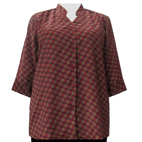 Wine Geometric 3/4 Sleeve Mandarin Collar V-Neck Tunic Women's Plus Size Blouse