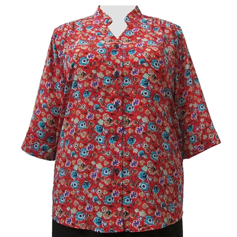 Floral Collection 3/4 Sleeve Mandarin Collar V-Neck Tunic Women's Plus Size Blouse