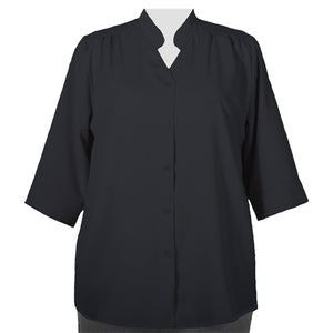 Black 3/4 Sleeve Mandarin Collar V-Neck Tunic Women's Plus Size Blouse