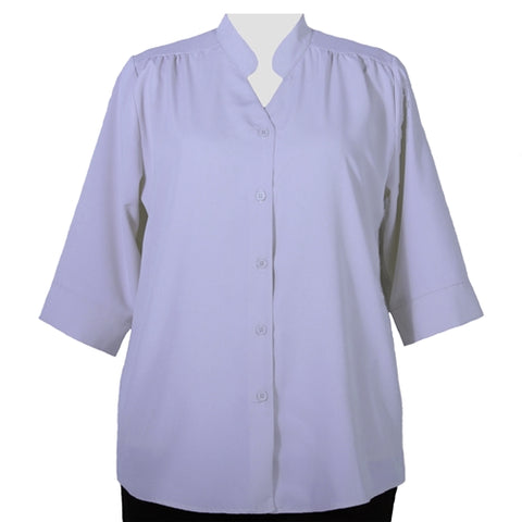 Lilac 3/4 Sleeve Mandarin Collar V-Neck Tunic Women's Plus Size Blouse