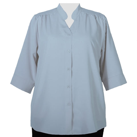 Light Blue 3/4 Sleeve Mandarin Collar V-Neck Tunic Women's Plus Size Blouse