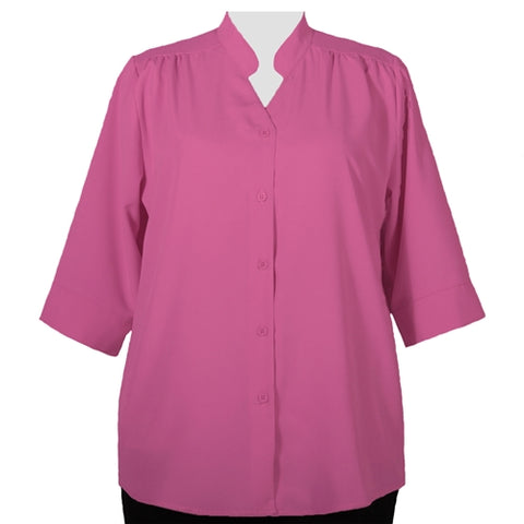 Pink 3/4 Sleeve Mandarin Collar V-Neck Tunic Women's Plus Size Blouse