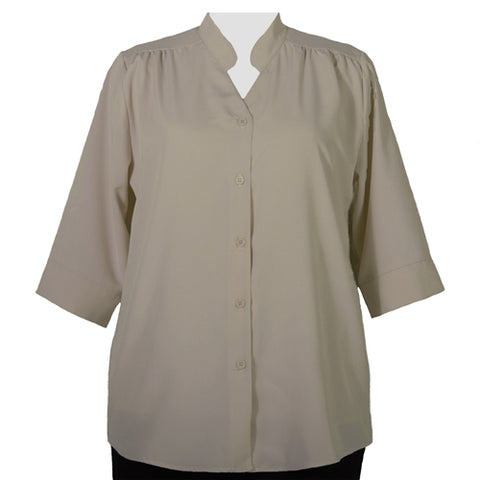 Taupe 3/4 Sleeve Mandarin Collar V-Neck Tunic Women's Plus Size Blouse