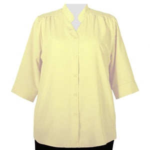 Yellow 3/4 Sleeve Mandarin Collar V-Neck Tunic Women's Plus Size Blouse