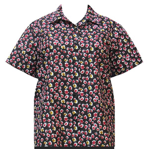 Black Perfect Pansy Short Sleeve Camp Shirt Women's Plus Size Blouse