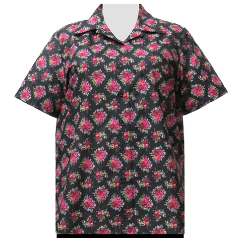 Black Really Rosy Short Sleeve Camp Shirt Women's Plus Size Blouse