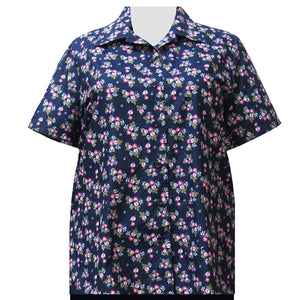 Navy Bouquet Short Sleeve Camp Shirt Women's Plus Size Blouse