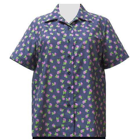 Navy Dotty Roses Short Sleeve Camp Shirt Women's Plus Size Blouse