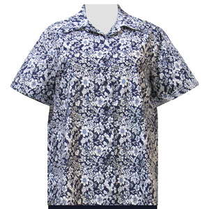 Navy Field Of Dreams Short Sleeve Camp Shirt Women's Plus Size Blouse