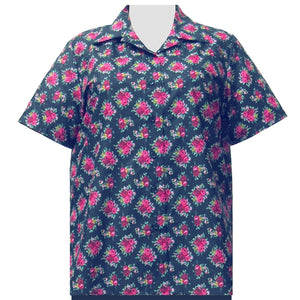 Navy Really Rosy Short Sleeve Camp Shirt Women's Plus Size Blouse